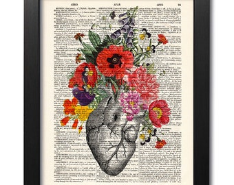 Anatomical heart and flowers, Anatomical heart print, Flower print, Art print, Illustration print, Dictionary art, Valentine gift [ART 038]