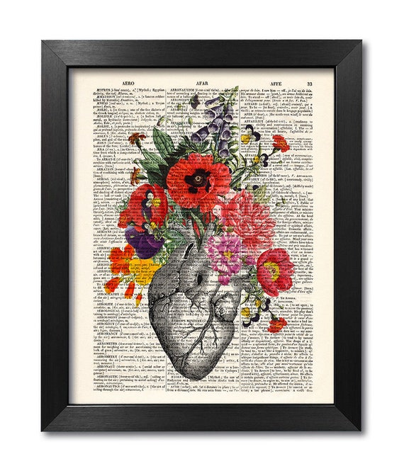 heart White Floral-Print on Dictionary Paper- vintage anatomy anatomically correct heart floral The Heart Anatomy Dictionary Print- Pink