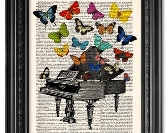 Piano print, Butterflies poster, Dictionary art print, Wall art, Illustration print, Old book page, Home Wall Decor, Gift poster [ART 010]