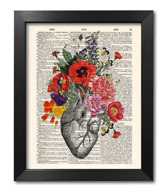 Anatomical Heart And Flowers Print Flower