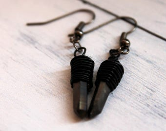 Aura Quartz Earrings - Witchy Earrings - Gothic earrings - Shard Earrings - Copper Earrings - Statement Earrings