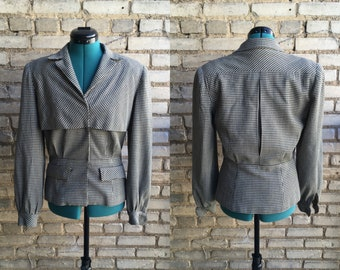 1940s Houndstooth Blazer Handmade Beautiful Vintage Jacket