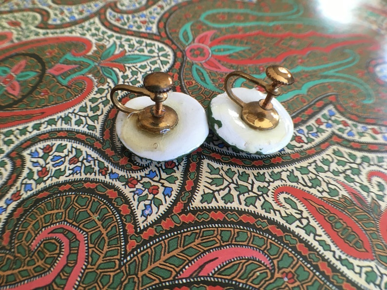 Avocado Green Vintage Screw Back Earrings Blue Polka Dots