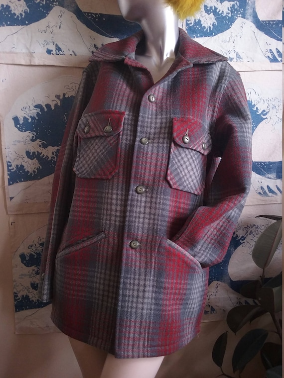 1950s Gray & Red Wool Shadow Plaid Coat Chippewa W