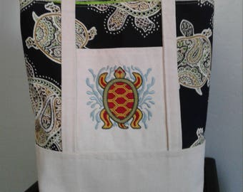 Handmade Embroidered Tote Bag,  Turtle, One of a Kind Tote, Book Bag, Kindle Bag, iPad Bag, Embroidered Tote, Tommy Bahama Fabric