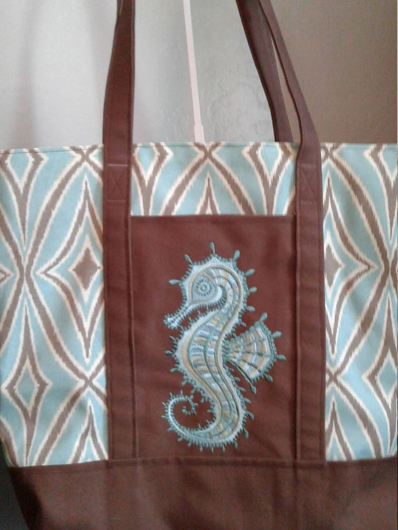 Seahorse Extra Large Tote Embroidered Tote Beach Bag Seahorse Tote Handmade Embroidered Tote Bag One of a Kind Tote Aqua Tote
