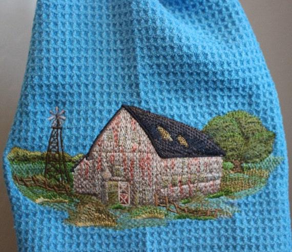 Embroidered Towel Rustic Barn Waffle Weave Towel Farm