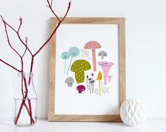 Mushroom Print, Mushroom Illustration, Foraging, Food Print, Kitchen Decor, Printable Art Print, Digital Download, PDF