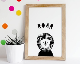 Boys Nursery Prints, Kids Playroom Decor, Printable Wall Art, Print Lion Roar, Wall Art Kids, African Animals, Print Safari Animals, Lion