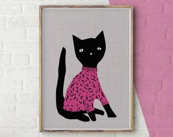Cat Print, Wall Art Cat, Black Cat, Cat Clothes, Cat Printable, Cat Poster, Cat Sweater, Cat Sweatshirt, Animals in Clothes, Cute Cat Print