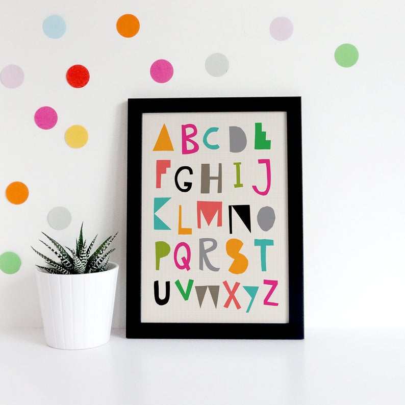 picture about Colorful Alphabet Letters Printable referred to as Vibrant Alphabet Print, Printable Wall Artwork, Alphabet Poster, Nursery Prints, ABC Printable, Hand Lettering, Playroom Decor