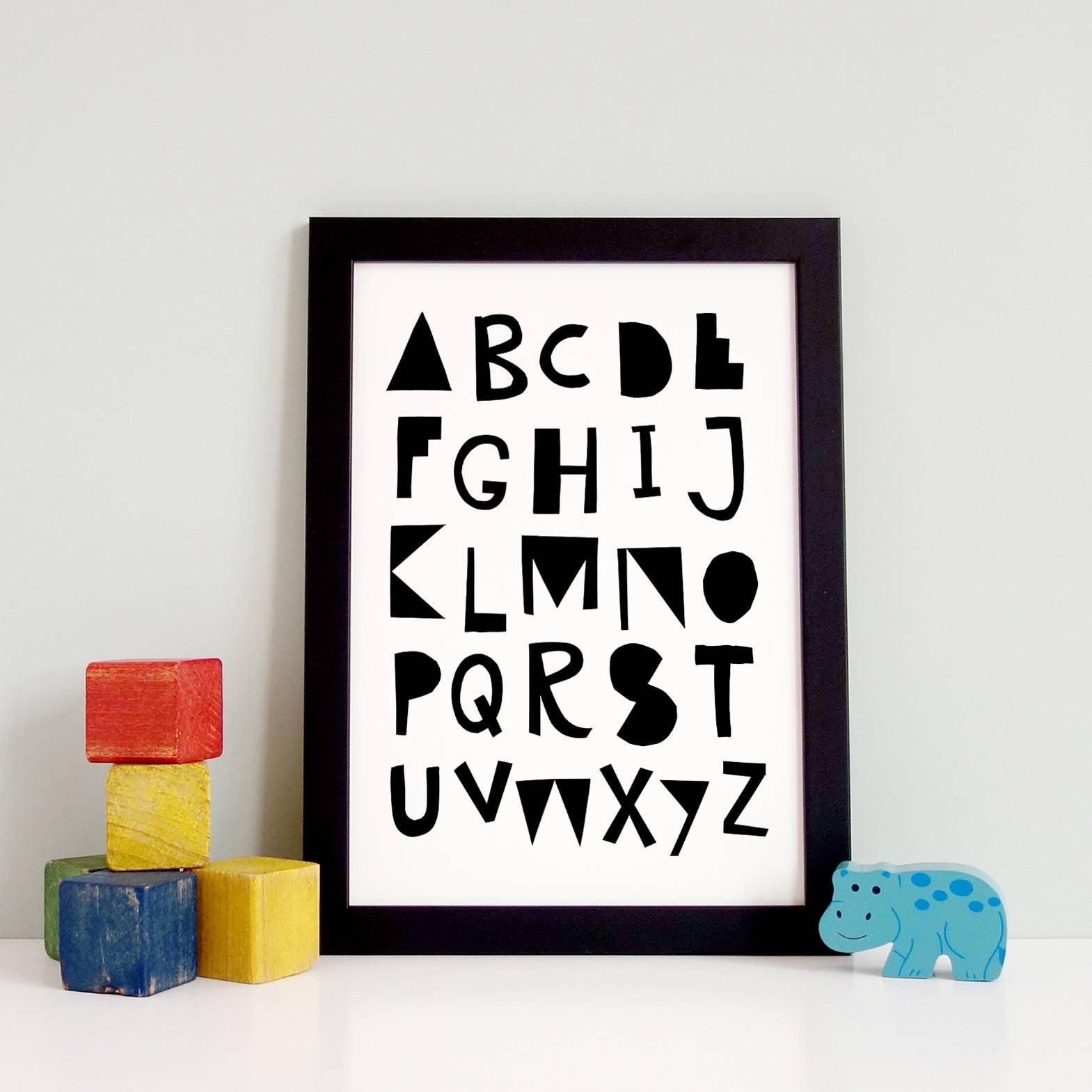 Alfabeto para imprimir letra cartel blanco y negro | Etsy