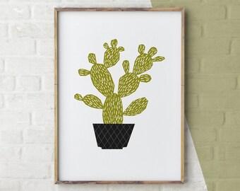 Cactus Print, Cacti, Cactus Art, Green Decor, Desert Print, Cactus Printable, Garden Art, Desert Illustration, Botanical Print, Illustration
