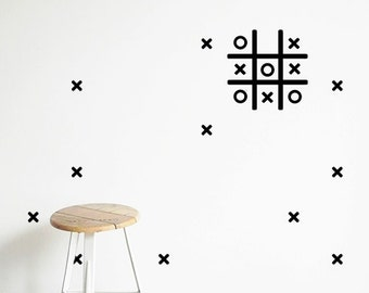 Kids wall decal - Tic Tac Toe Game - Wall Decal - Naughts & crosses