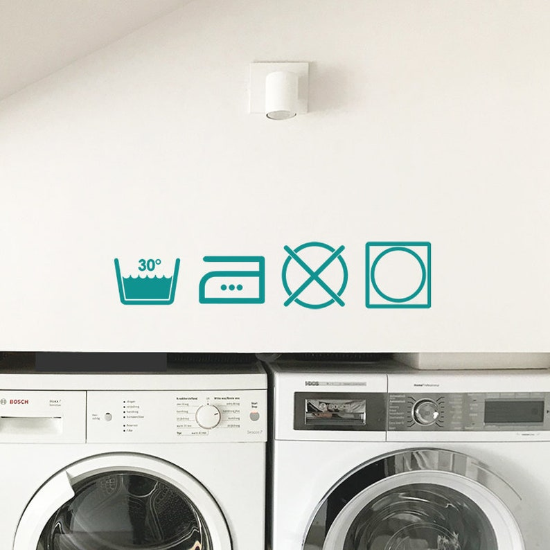 Laundry Symbols Window Sticker Washing Removable Wall Decal Washing Room Sign