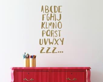 Alphabet wall decals - Alphabet wall art - Vinyl wall stickers - Alphabet kids room wall decal - ABC ZZZ...