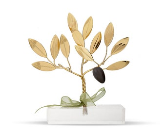 Brass handmade olive tree of life in plexiglass