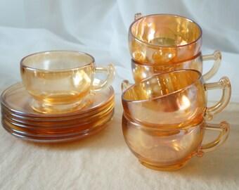 Vintage Jeannette Carnival Marigold Iridescent Moderne Glass Saucer