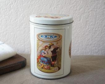 Vintage Round Metal Clark/'s ONT Spool Cotton Tin 1980s