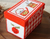 Vintage Hand Made Red White Coffee Grinder Teapot cross stitch recipes Container Box With Lid