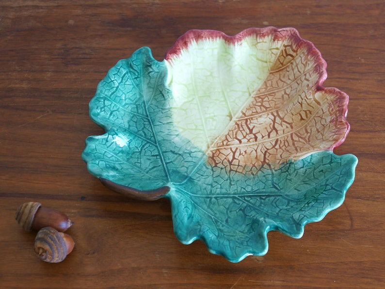 Vintage Hand Painted Fitz and Floyd Leaf Shape Small Plate Dish Made in Korea AS-IS