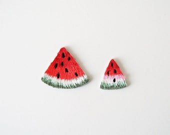 One Inch Set of 2 Watermelon Embroidered Iron On Applique Sew-on Patch DIY