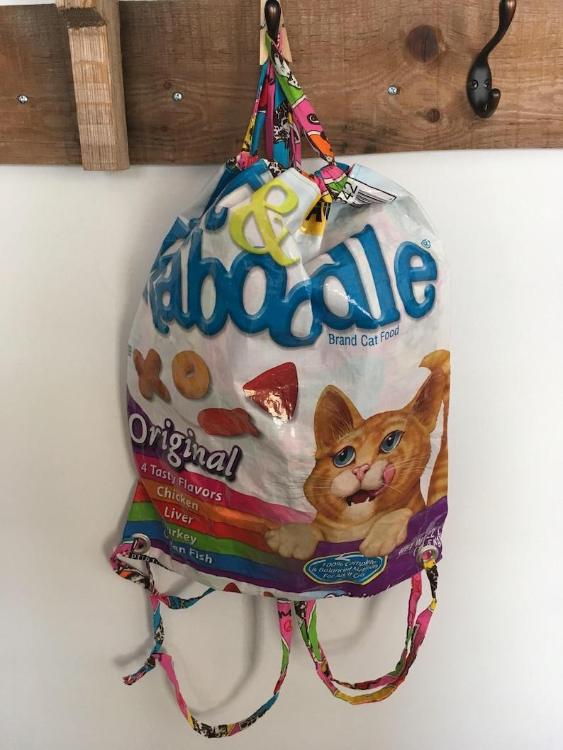 Upcycled Pet Feed Drawstring Backpack image 0