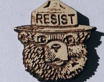 Smokey the Bear RESIST Wood Hat Pin