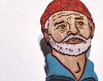 Bill Zissou Lapel Pin   Life Aquatic Wood Hat Pin   Hand-Painted Wooden Film Brooch