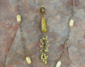 3 Necklace Set - Yellow Stripes Agate Tassel & Butterfly