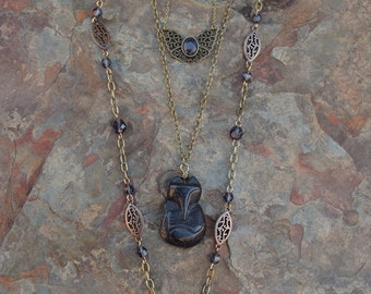 3 Necklace Set - Blue Sand Stone Fox & Butterfly