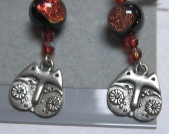 Meow...Pewter Cat Head with Dichroic Glass Beads