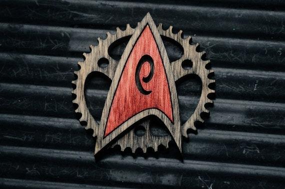 star trek inspired Coloured Steampunk Starfleet Badge