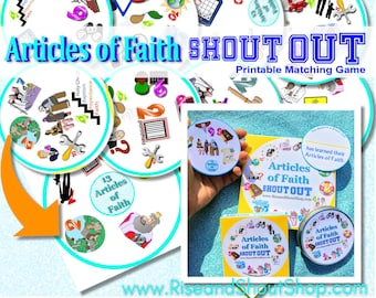 "ARTICLES of FAITH Game Shout Out; Spot the Match Game; 3"" & 5"" circle or square cards, storage/gift box, church, FHE, primary, seminary"