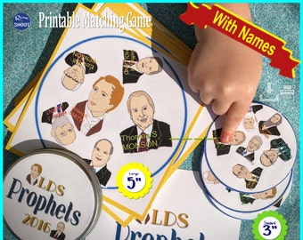 "LDS PROPHET Matching Game Shout Out BUNDLE; 3"" & 5"" cards; General Conference, Primary, Youth, Sunday School, Easy: Print, Cut, Learn"