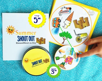 "SUMMER MATCHING Game Shout Out, 3"" & 5"" Cards; Classroom and Family Play; Pre-K, Kindergarten, Esl, 2nd Language; Print, Cut, Play"