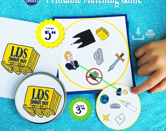 "LDS MATCHING Game Shout Out; 3"" & 5"" Printable Cards; 1-31 Players; Missionary, Primary, Yw, Ym, Sunday School; Easy Print, Cut, Play"