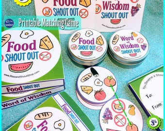 "FOOD - WORD of WISDOM Matching Game Shout Out; 31 3"" & 5"" cards; Healthy eating from Food Groups; Print, Cut, Play, Learn"