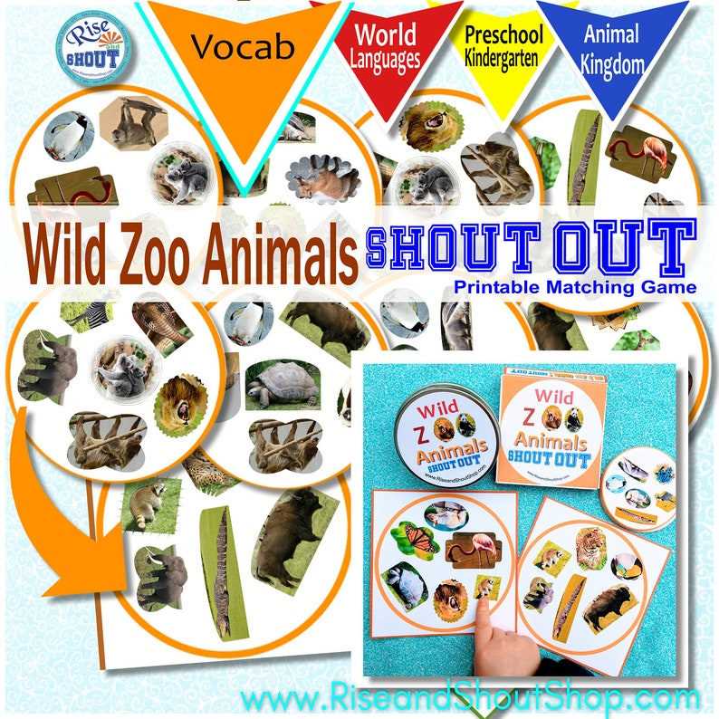 Wild Zoo Animals Shout Out Race to spot the match game image 0