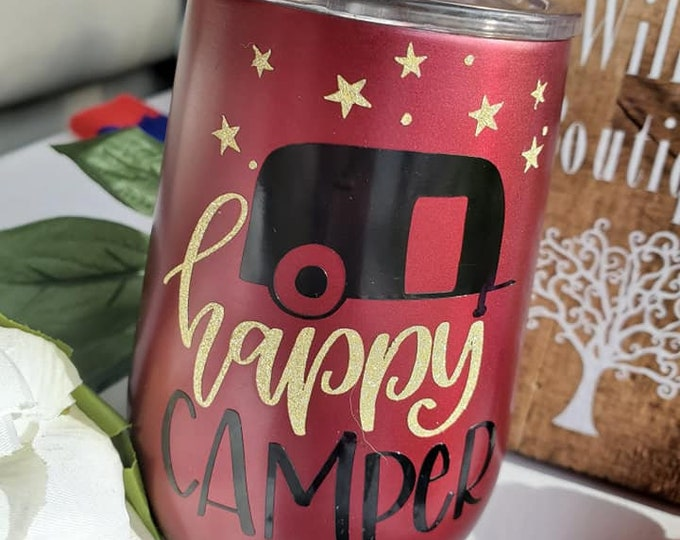 Featured listing image: Happy Camper Stainless Steel Wine Tumbler