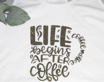 Coffe Lover Glitter T Shirt