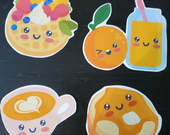 4 Breakfast Removable Stickers