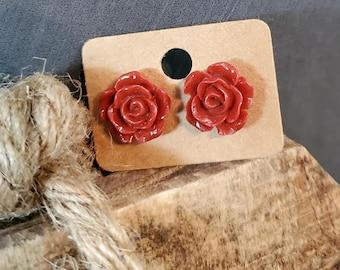 Red Rose Post Earrings