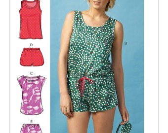 McCall's M6848 Size 4-14 or 16-26 Misses' Tops, Elastic-Waist Romper, Shorts and Eye Mask Sewing Pattern / Uncut FF