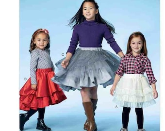 McCall's M7498 Size 3-6 or 7-14  Children's/Girls' Tiered and Ruffled Skirts Sewing Pattern / Uncut/FF