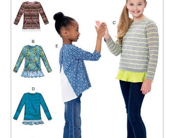 290890f449f69 McCall s M7424 Size 3-6 or 7-14 Children s  Girls  Knit Tops with Hemline  Variations Sewing Pattern   Uncut FF