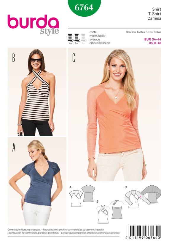 Burda 6764 Size 8 18 Misses Tops Blouses And Shirts Sewing Etsy