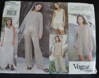 Vogue 1358 Size 6-8-10 Calvin Klein Misses Jacket, Top, Skirt, Shorts and Pants  Sewing Pattern / Uncut/FF