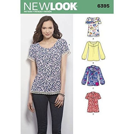 New Look 6395 Size 10 22 Misses Tops Blouses Sewing Pattern Etsy