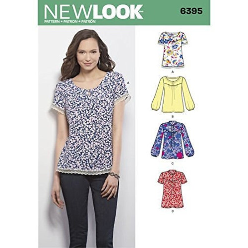 3cd072ffe5a465 New Look 6395 Size 10-22 Misses Tops Blouses Sewing Pattern / | Etsy